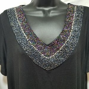 New Avenue Beaded Black Dress with Short sleeves